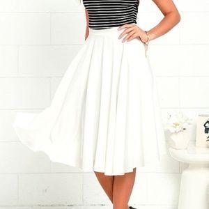 Lulu's Dance Montage Ivory High Waisted Midi Skirt